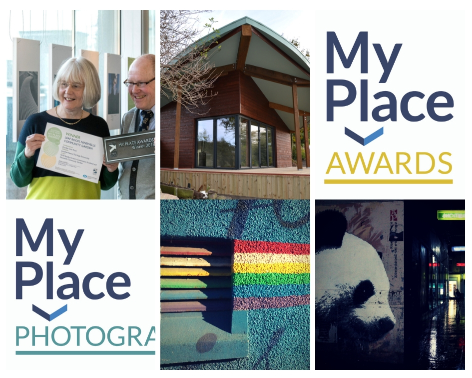 A collage of six images; the My Place Photography and My Place Awards logos, a woman and man smiling holding a certificate that says My Place Awards 2018 Winner The Leaf Room Dundee, a photograph of the Leaf Room building exterior which has a large leaf shaped roof and wooden panelling, a photograph of a painted rainbow and a photograph of a panda mural with green and red lit signs in the background.